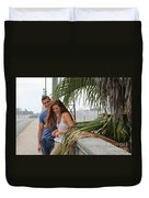 Young Couple Palm Tree Duvet Cover