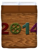 2014 Wooden Gear On Wood Grain Texture Background Duvet Cover