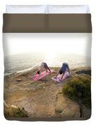 A Man And Woman Practicing Yoga Duvet Cover