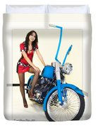 Models And Motorcycles Duvet Cover