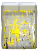 Imagination - Grey And Yellow Abstract Art Painting Duvet Cover