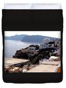 Views Of Santorini Greece Duvet Cover