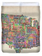 United States Typography Text Map Duvet Cover by Michael Tompsett