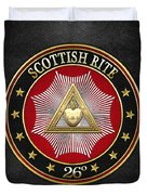 26th Degree - Prince Of Mercy Or Scottish Trinitarian Jewel On Black Leather Duvet Cover
