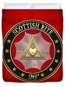 26th Degree - Prince Of Mercy Or Scottish Trinitarian Jewel On Red Leather Duvet Cover