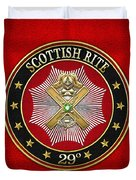 29th Degree - Scottish Knight Of Saint Andrew Jewel On Red Leather Duvet Cover