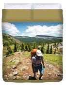 A Backpacker Hiking Duvet Cover