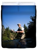 A Fly-fisherman In The Truckee River Duvet Cover