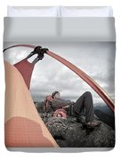A Man Setting Up A Tent Duvet Cover