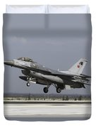 A Turkish Air Force F-16c Fighting Duvet Cover