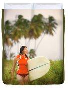 A Woman Carries A Surfboard To The Beach Duvet Cover