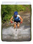 A Woman Mountain Bikes Along Trail 401 Duvet Cover