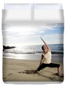 A Women At The Beach Performing Yoga Duvet Cover