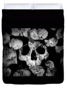Altered Image Of Skulls And Bones In The Catacombs Of Paris France Duvet Cover