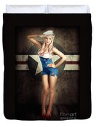 American Fashion Model In Military Pin-up Style Duvet Cover