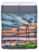 Arthur Ravenel Bridge Stormy Skies Duvet Cover