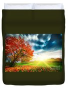 Autumn Fall Landscape In Park Duvet Cover