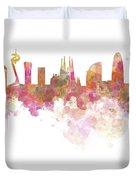 Barcelona Skyline In Watercolour On White Background Duvet Cover