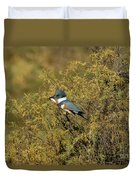 Belted Kingfisher With Fish Duvet Cover