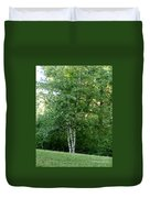 3 Birch Trees On A Hill Duvet Cover