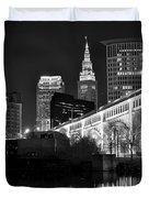 Black And White Cleveland Iconic Scene Duvet Cover