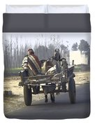 Bundled Up For The Cold In A Foggy Day In Rural India Duvet Cover