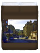 Car In A Queue Waiting For A Signal In Edinburgh Duvet Cover