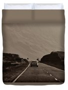 Cars And Other Vehicles On A Road In The Scottish Highlands Duvet Cover