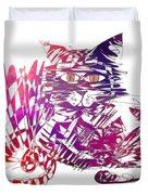 3 Cats Purple Duvet Cover