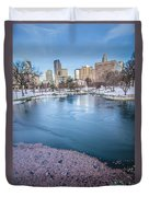 Charlotte North Carolina Marshall Park In Winter Duvet Cover