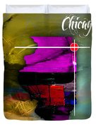 Chicago Illinois Map Watercolor Duvet Cover