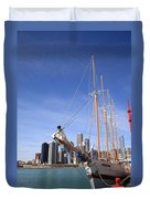 Chicago Skyline And Tall Ship Duvet Cover
