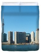 Cn Tower Toronto View From Centre Island Downtown Panorama Improvised With Graphic Artist Tools Pain Duvet Cover