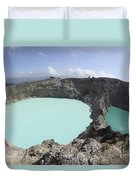 Colourful Crater Lakes Of Kelimutu Duvet Cover by Richard Roscoe