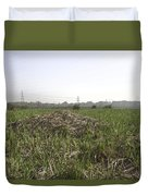 Cut And Dried Grass Along With Growing Grass Duvet Cover