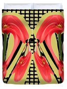 Dancing Tulip Red Exotic Flower Petal Based Wave Pattern  Created By Navinjoshi Reiki Healing Master Duvet Cover