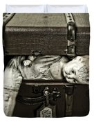 Doll In Suitcase Duvet Cover