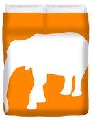 Elephant In Orange And White Duvet Cover