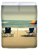 3 Empty Beach Chairs Duvet Cover