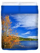 Fall Forest And Lake Duvet Cover by Elena Elisseeva