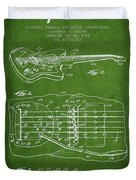 Fender Floating Tremolo Patent Drawing From 1961 - Green Duvet Cover