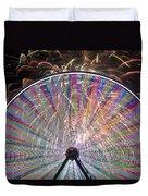 Ferris Wheel And Fireworks Duvet Cover