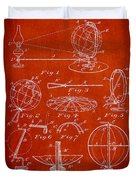 Folding School Globe Patent Drawing From 1887 Duvet Cover