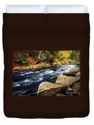 Forest River In The Fall Duvet Cover