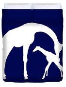 Giraffe In Navy And White Duvet Cover