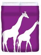 Giraffe In Purple And White Duvet Cover