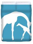 Giraffe In White And Turquoise Duvet Cover