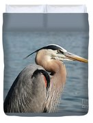 Great Blue Heron Profile Duvet Cover