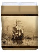 Historic Seaport Schooner Duvet Cover by John Stephens