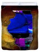 Illinois Map Watercolor Duvet Cover